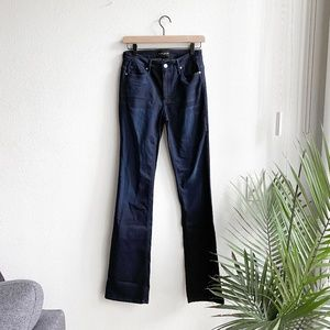 black orchid / dark wash boot cut high rise jeans